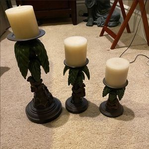 Set of 3 candle holders with palm trees & monkeys